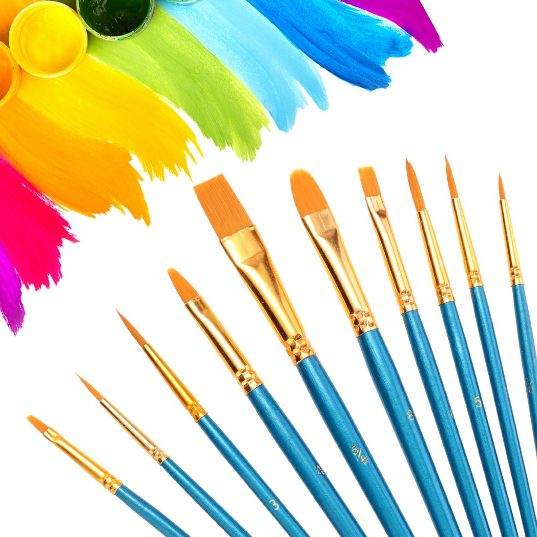 10pcs Face Painting Brushes Round Flat Tip Artist Paint Drawing Brush Glitter Art Set