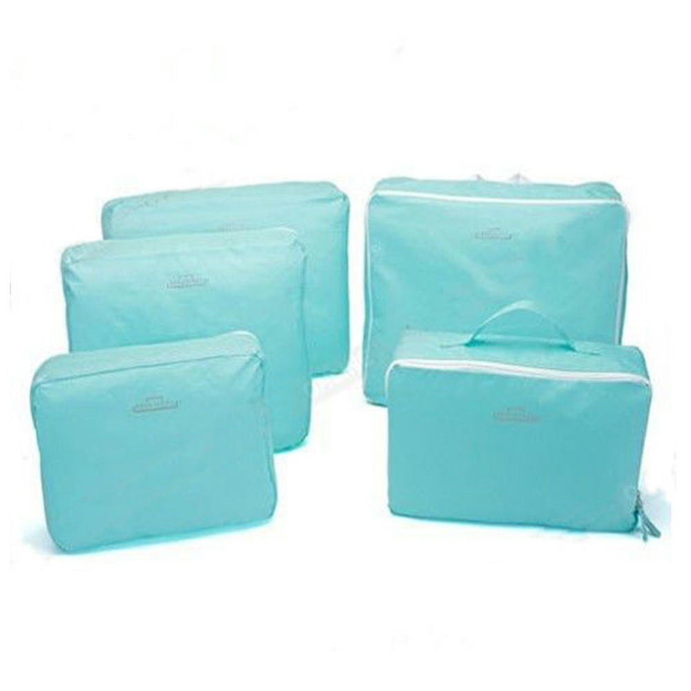 5 pcs Travel Clothes Underwear Sorting Bag Tidy Suitcase Bags Storage Bags Luggage Trips Organizer - Blue