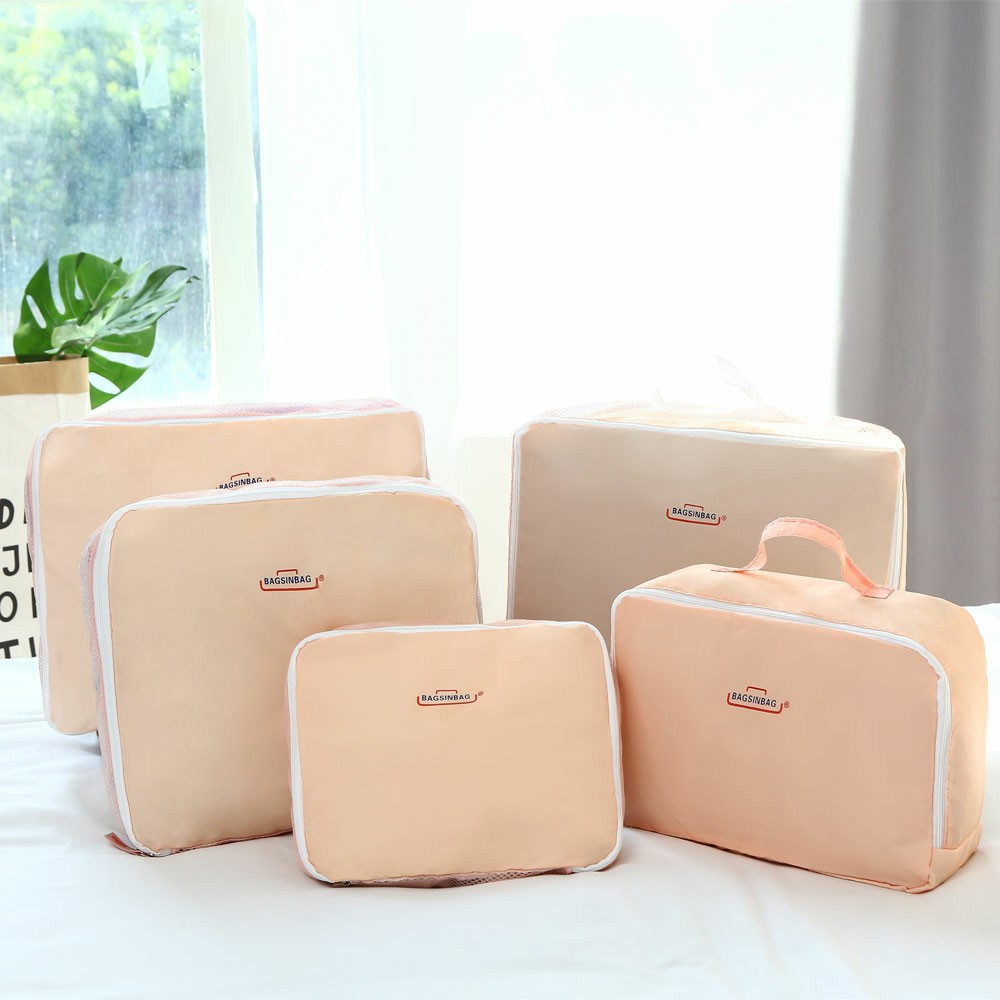 5 pcs Travel Clothes Underwear Sorting Bag Tidy Suitcase Bags Storage Bags Luggage Trips Organizer - Pink