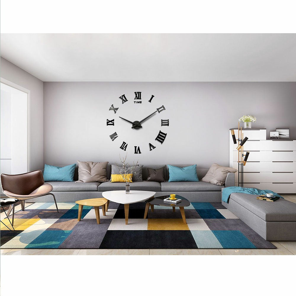 DIY 3D Wall Clock Roman Numerals Large Mirror Surface Luxury Big Art Clock