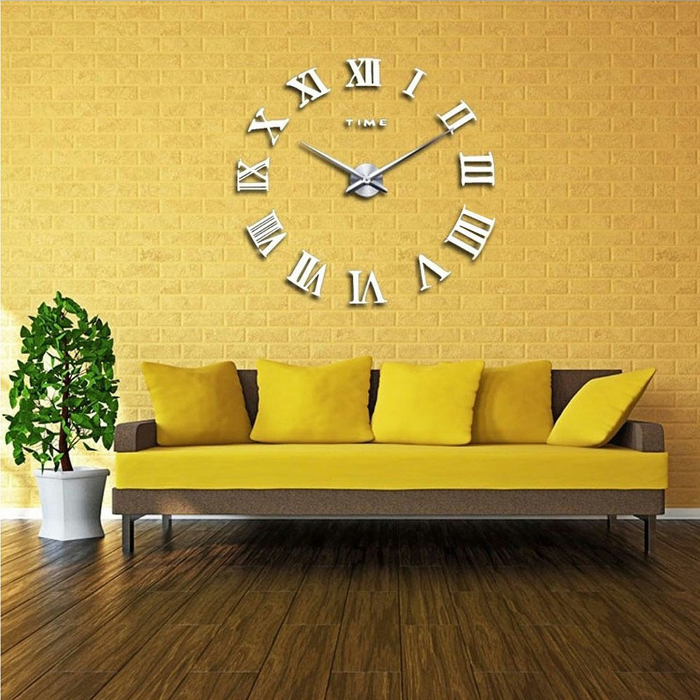 DIY 3D Wall Clock Roman Numerals Large Mirror Surface Luxury Big Art Clock - Silver
