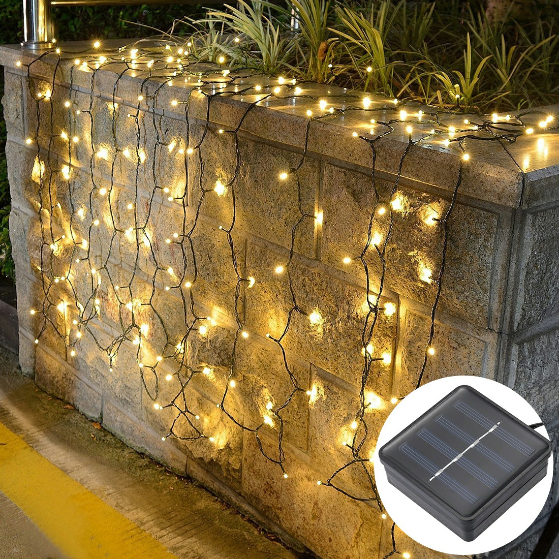 100 LEDs Solar Powered LED String Lights for Garden Fence Party Decoration - Warm White Light