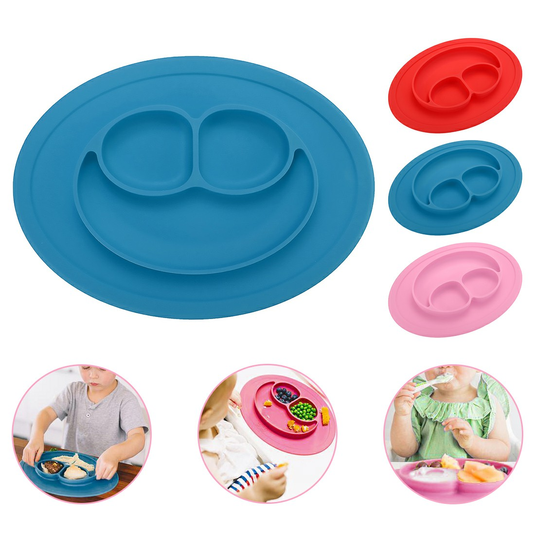 Baby Kids Child Suction Table Food Plate Cute Bowl Silicone Mat - Blue