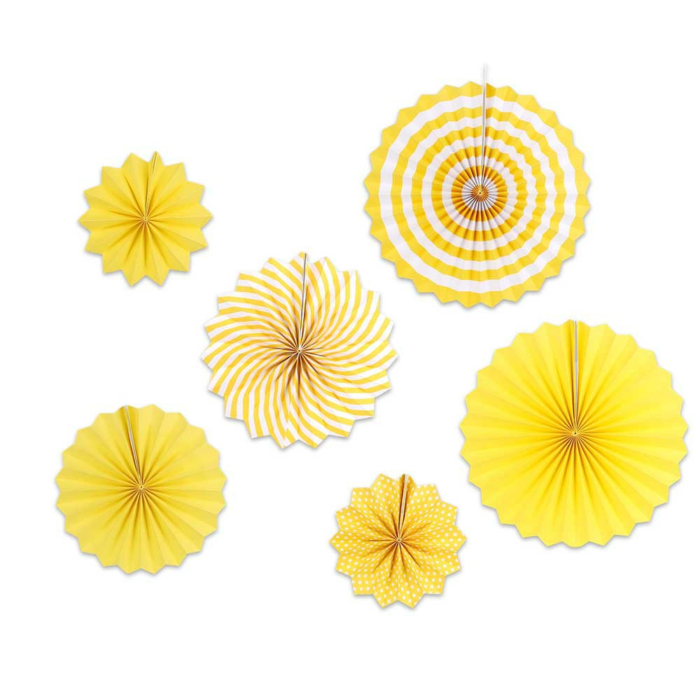 6 pcs Paper Hanging Fan Flowers Wedding Birthday Party Tissue Paper Table Garland Decor - Yellow