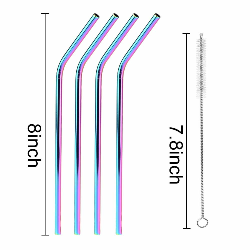 4 pcs Reusable 304 Stainless Steel Metal Drinking Straw with Cleaning Brush - Rainbow Colour