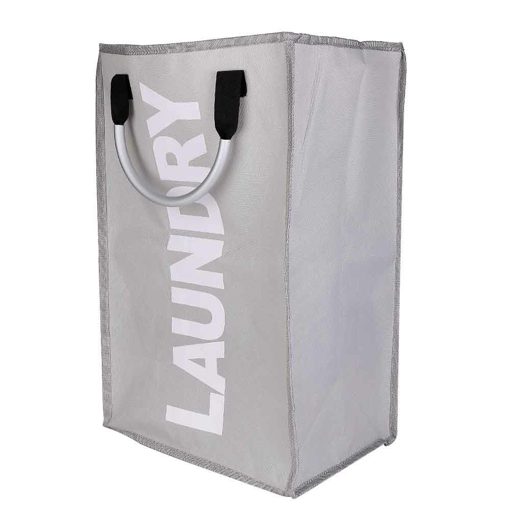 Foldable Laundry Washing Basket Fabric Bag Hamper Dirty Clothes Storage Bin - Light Grey