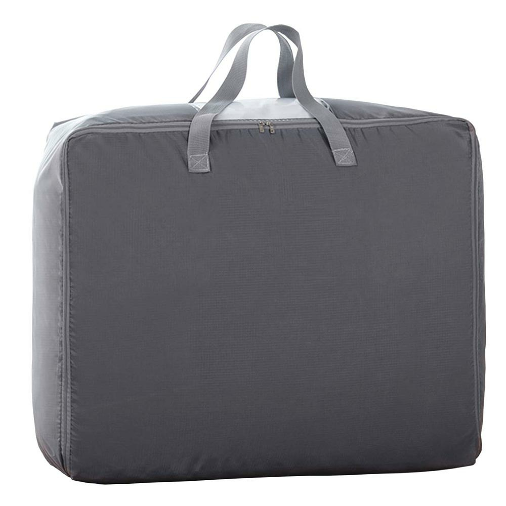 Large Storage Bag Oxford Organizer Clothes Quilt Bedding Duvet Laundry Pillows Zipped Bag - Grey