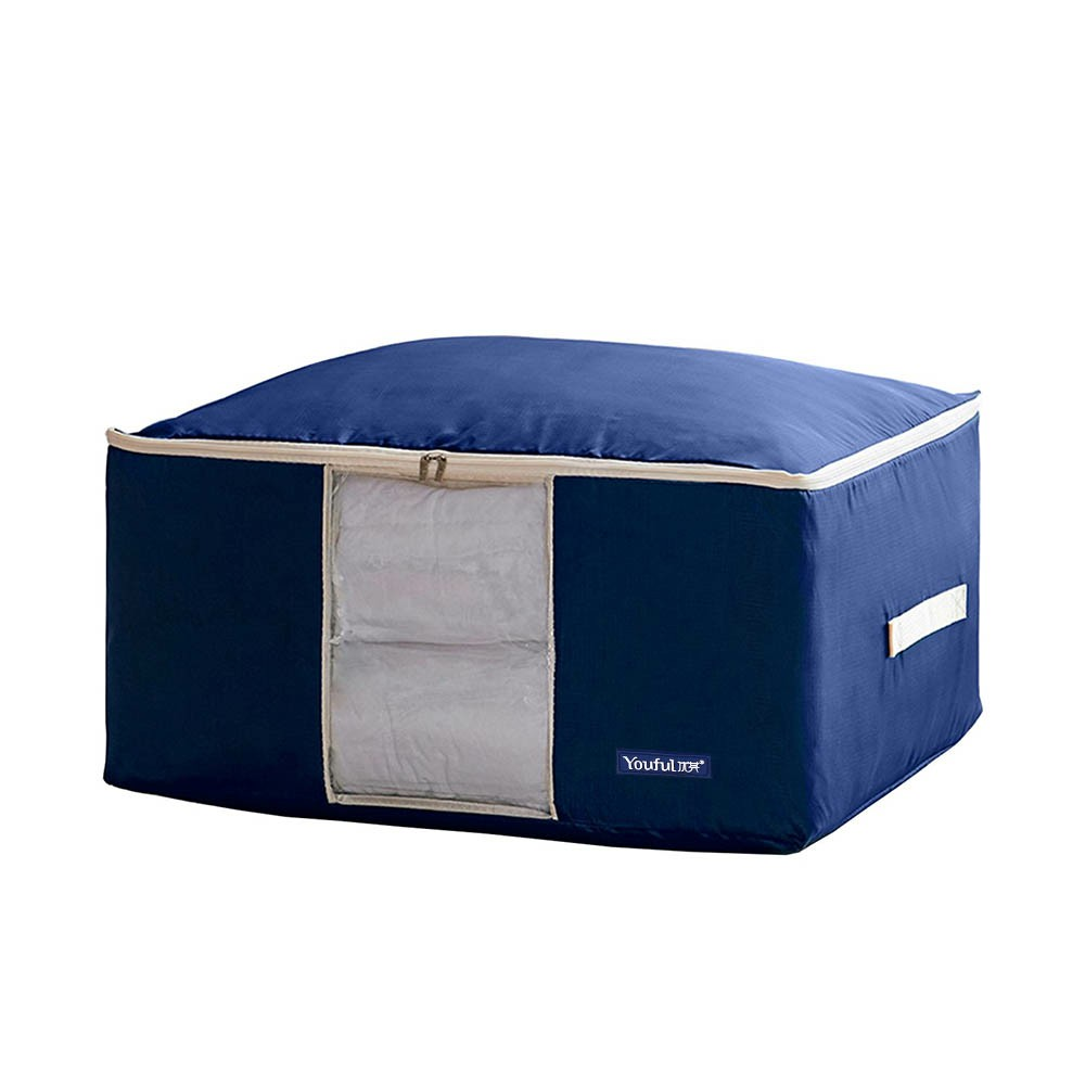 Large Storage Bag Oxford Organizer Clothes Quilt Bedding Duvet Laundry Pillows Zipped Bag - Royal Blue