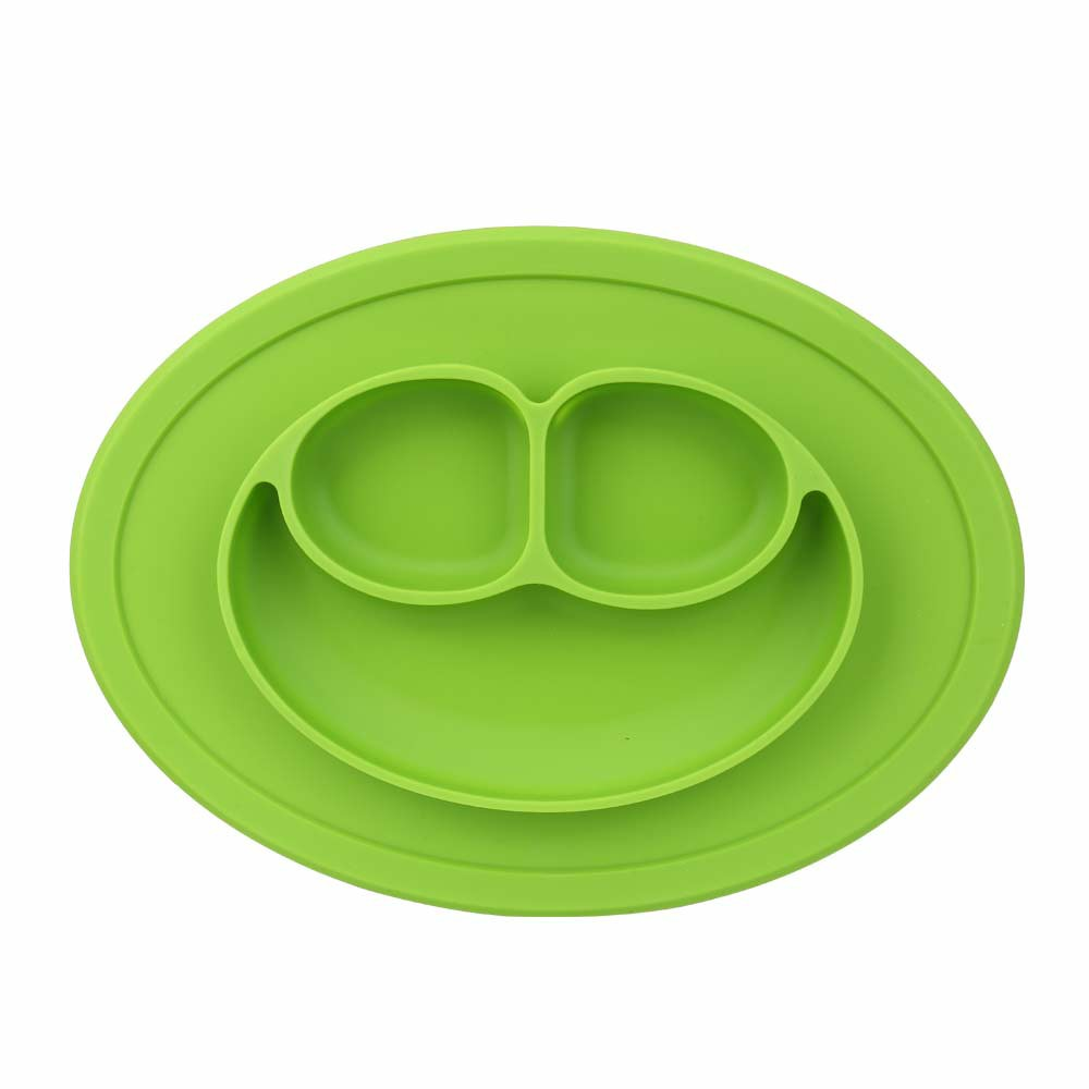 Baby Kids Child Suction Table Food Plate Cute Bowl Silicone Mat - Green