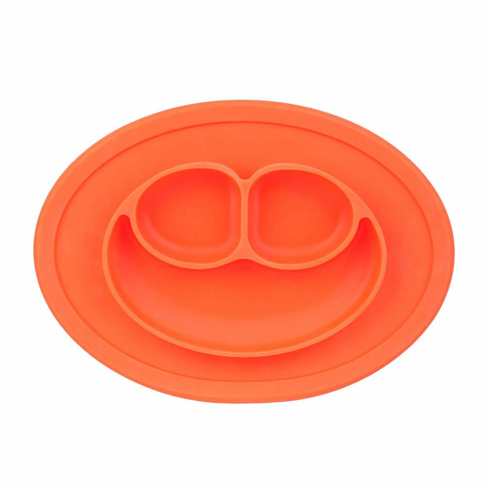 Baby Kids Child Suction Table Food Plate Cute Bowl Silicone Mat - Orange