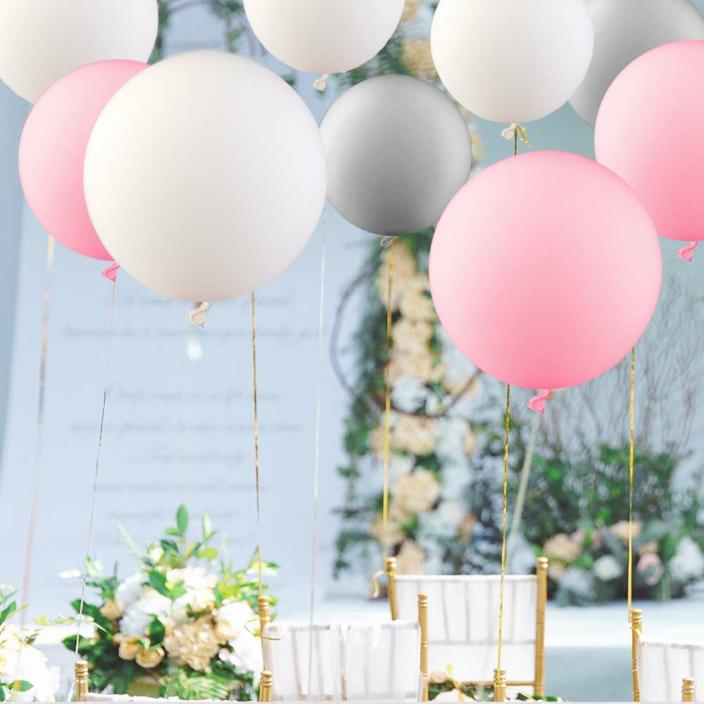 5 Pieces Round Latex Balloons 36 inches Wedding Decor Helium Big Large Giant Ballons for Wedding Festival - Pink