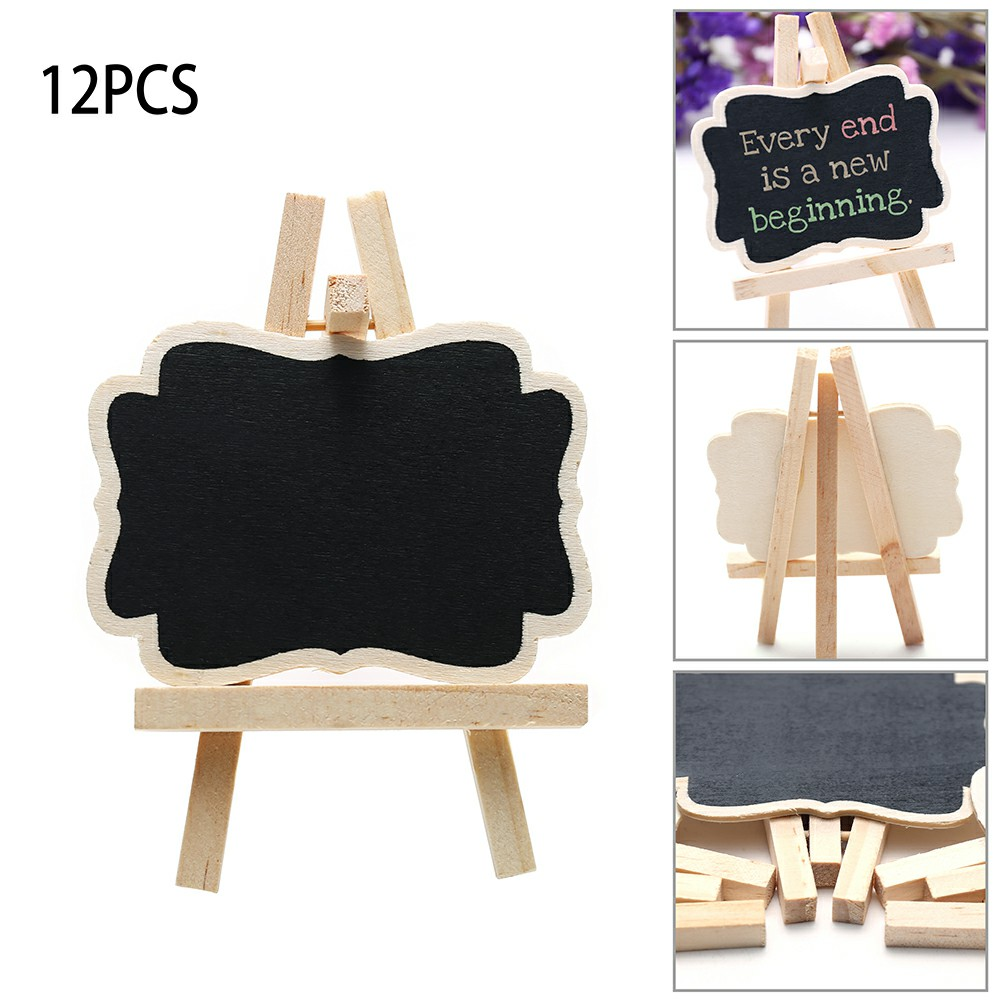 Mini Message Wooden Blackboard Note Sign Message Chalk Board Table Top-Rectangle With Easel
