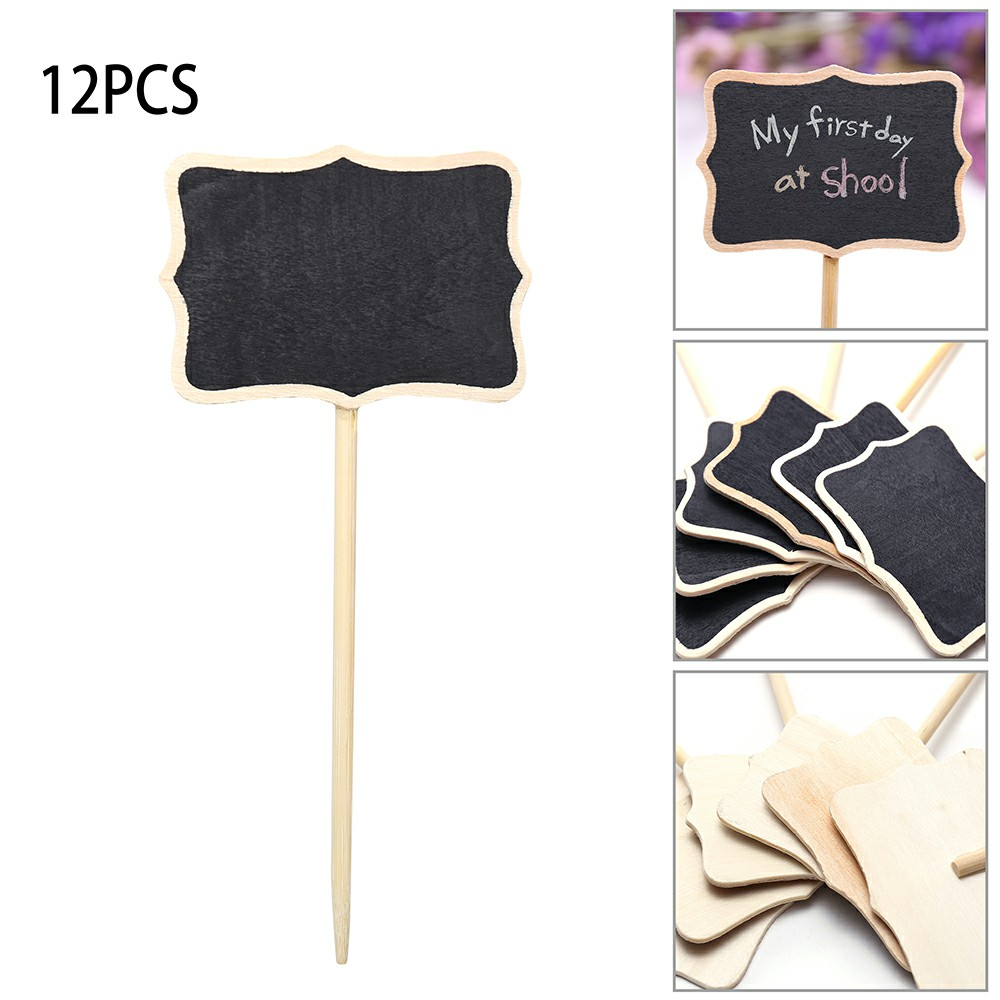 Mini Message Wooden Blackboard Note Sign Message Chalk Board Table Top-Rectangle With Stand