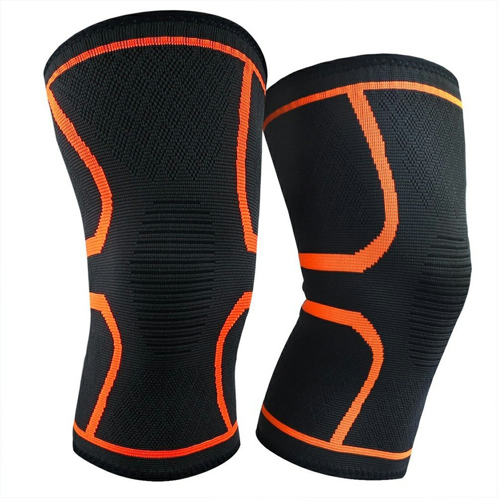 1 Pair Yellow Compression Knee Support Sleeve Bandage Strain Sprain Injury Running UK-S