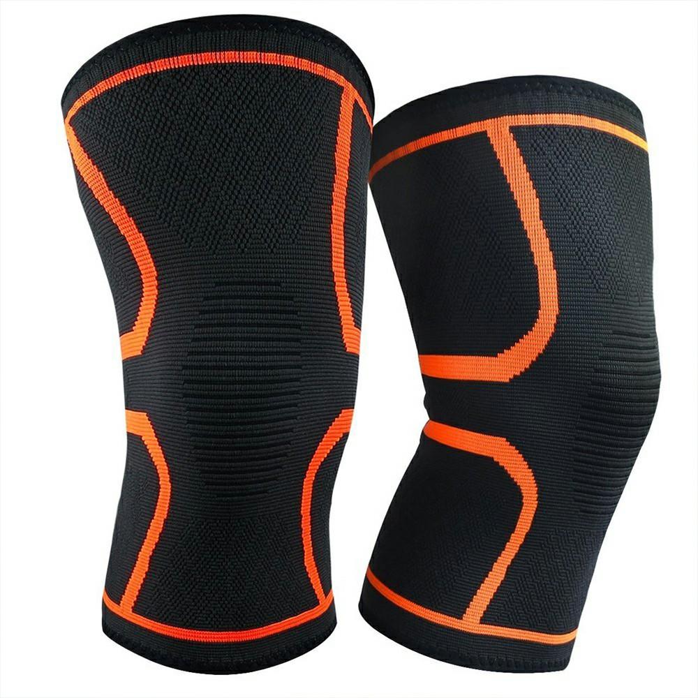 1 Pair Yellow Compression Knee Support Sleeve Bandage Strain Sprain Injury Running UK-XL