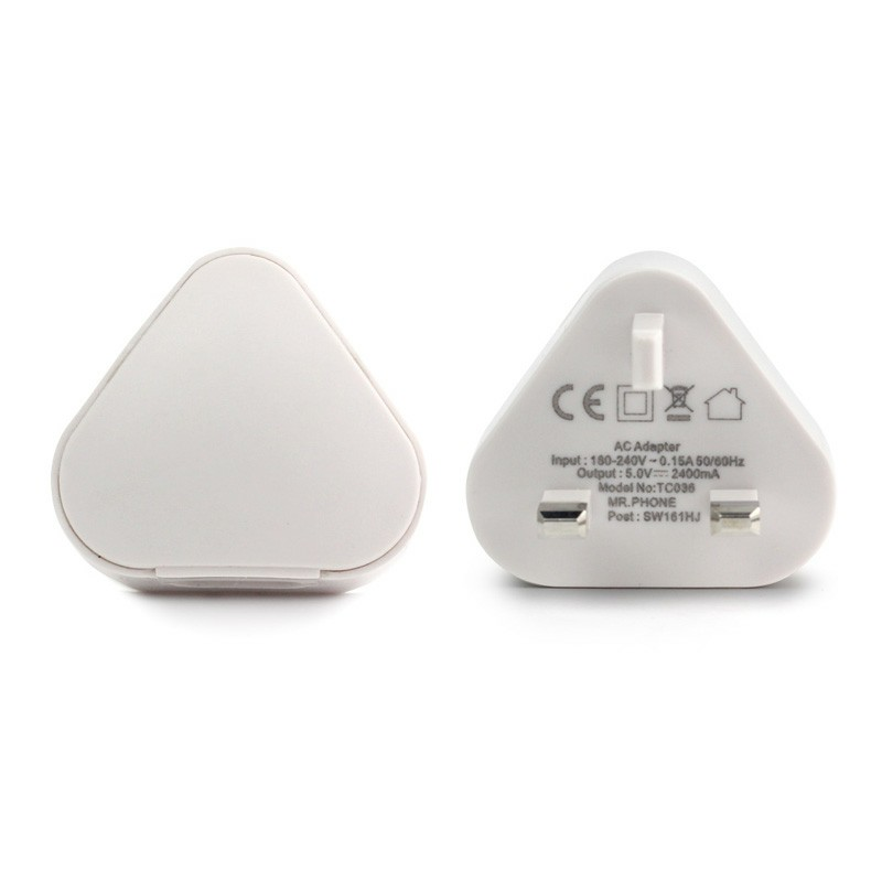 TH53 2.4A USB UK Plug Phone Home Wall Charger AC Adaptor - White