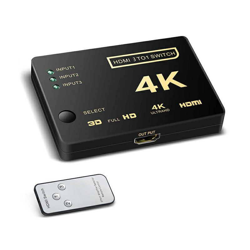 3 Port Mini HDMI Switcher Splitter 4Kx2K 3D 3 In 1 Out HDMI Switch with Remote