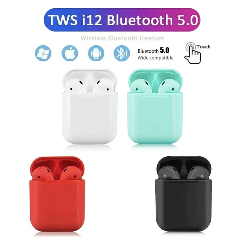 i12 5.0 TWS Bluetooth Headphones Candy Colour Outlook Touch Control Wireless Earphones Fit with Android iOS Microsoft - Black