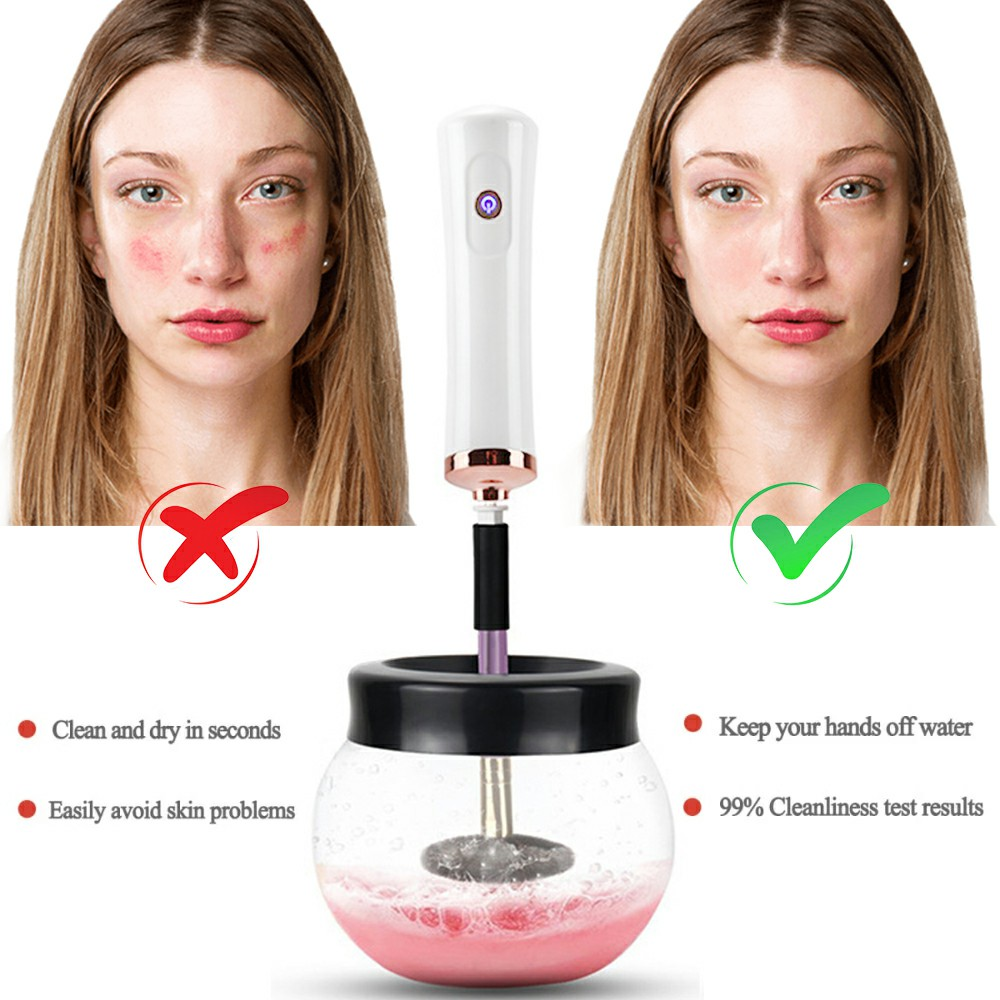 Electric Make up Brush Cleaner Dryer Set Machine Cosmetic Auto Clean Quick Dry - White
