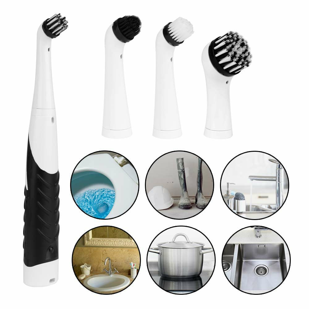 4 in 1 Electric Super Sonic Scrubber Cleaning Brush Home Bathroom Kitchen Tool Clean Tool - Black + White