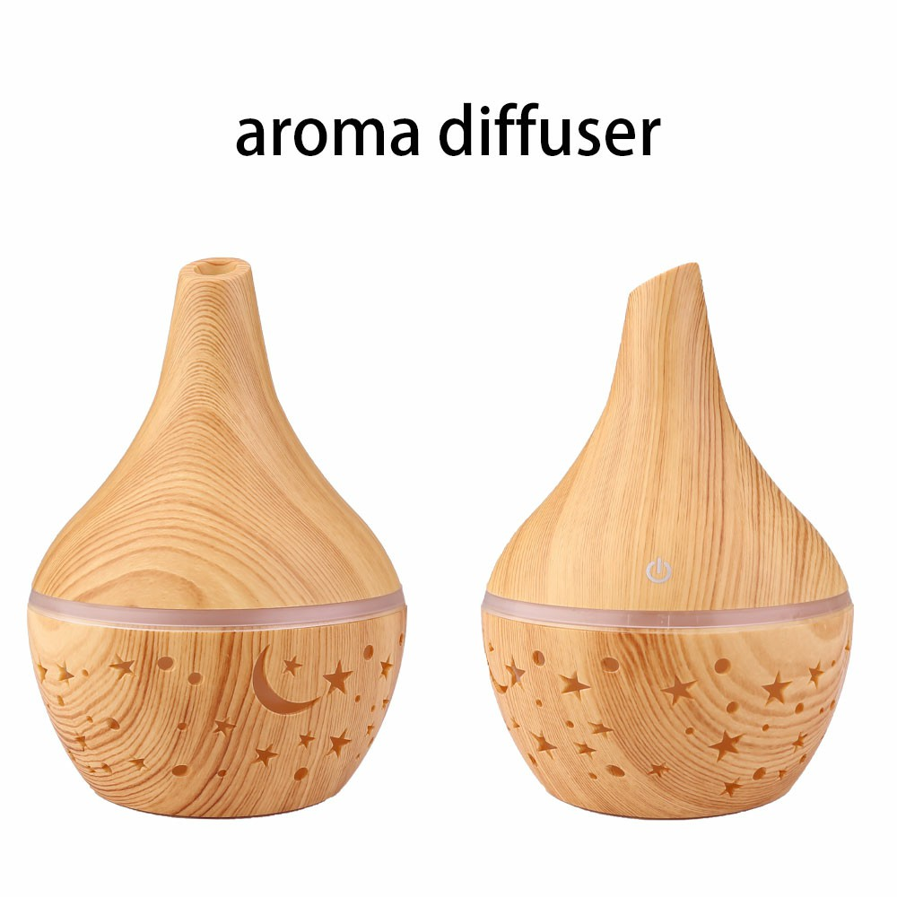 300ML Electric Led Oil Essential Aroma Diffuser Hollow Star Moon Humidifiers Air Purifier - Light Wood Pattern