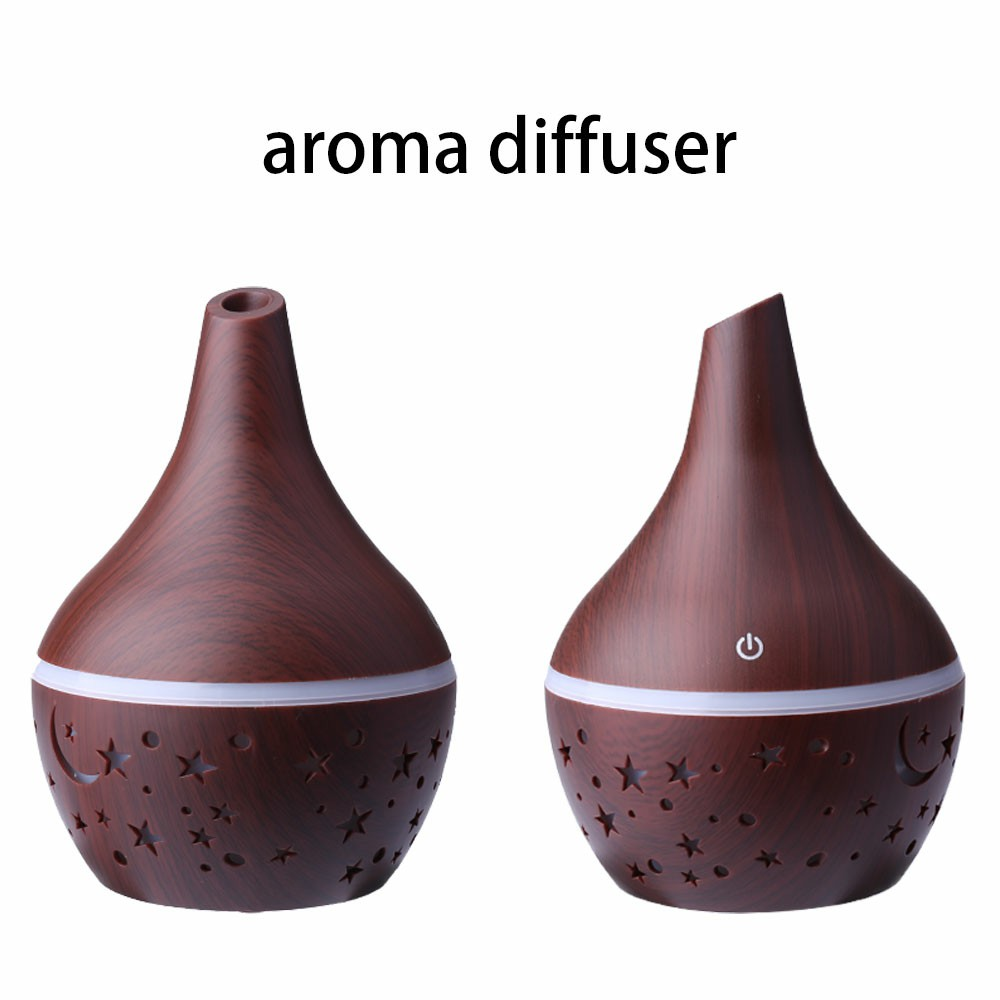 300ML Electric Led Oil Essential Aroma Diffuser Hollow Star Moon Humidifiers Air Purifier - Dark Wood Pattern
