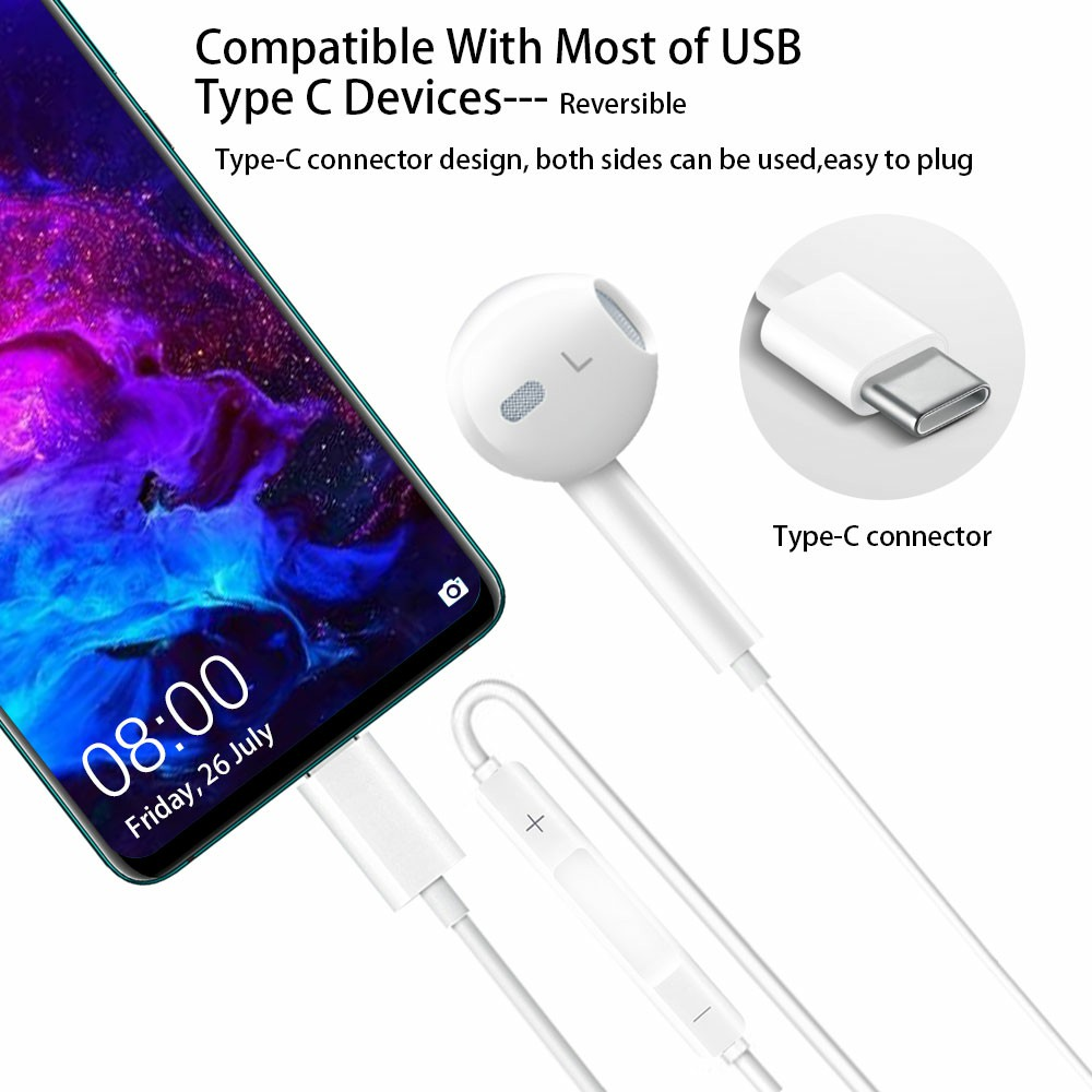 Powerful Stereo Bass USB C Digital Earbuds Type C Wired Earphones with Microphone Noise Cancelling Headphones
