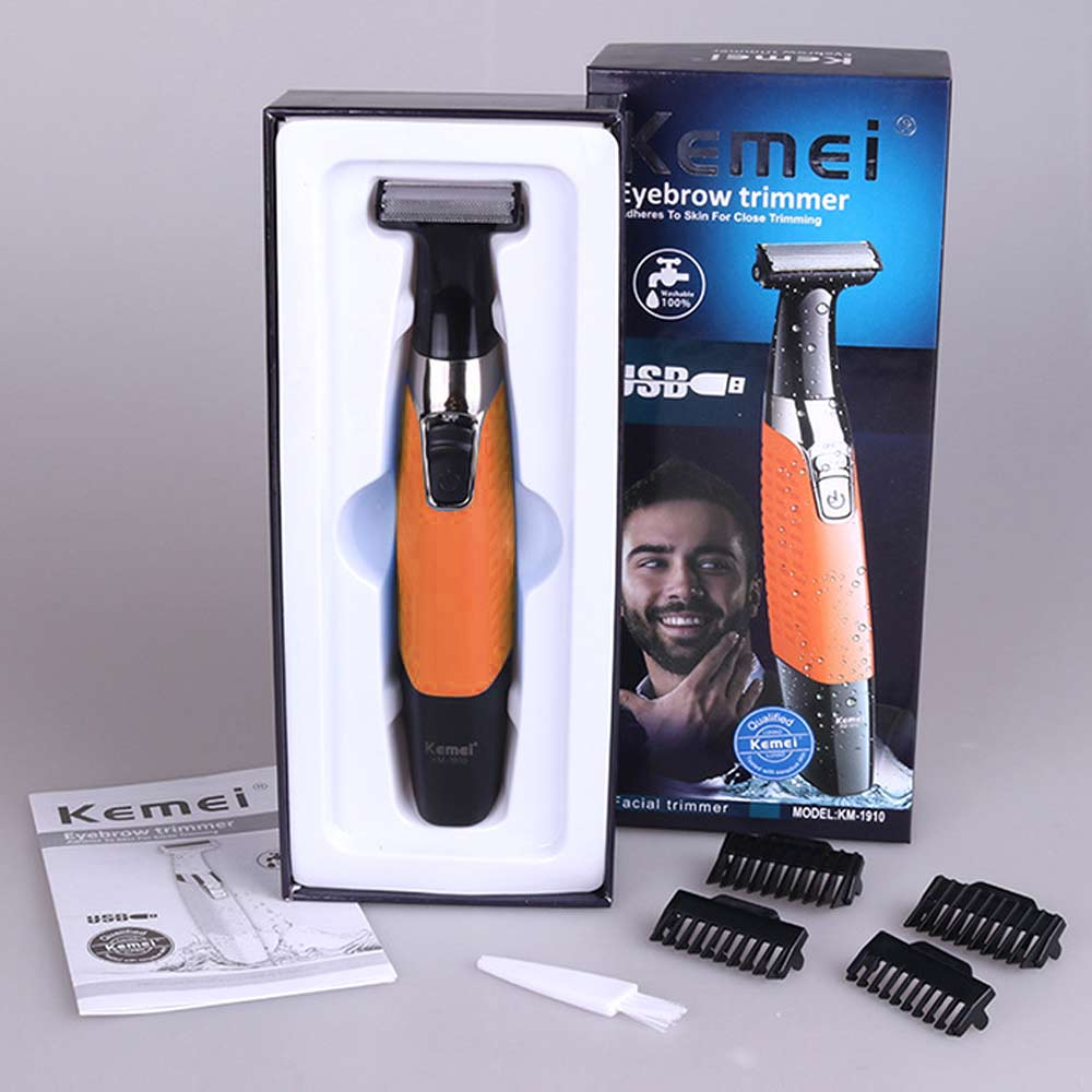 Portable Washable Rechargeable Hair Clipper Shaver Electric Men Eyebrow Cordless Body Hair Trimmer Beard Shaver - Orange