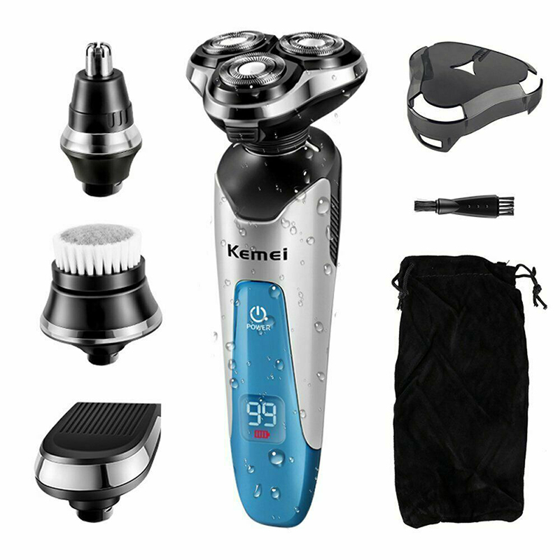Mens Electric Shaver Razor Wet Dry 4D Rotary Shaver Rechargeable Kemei Cordless USB Port Shaver