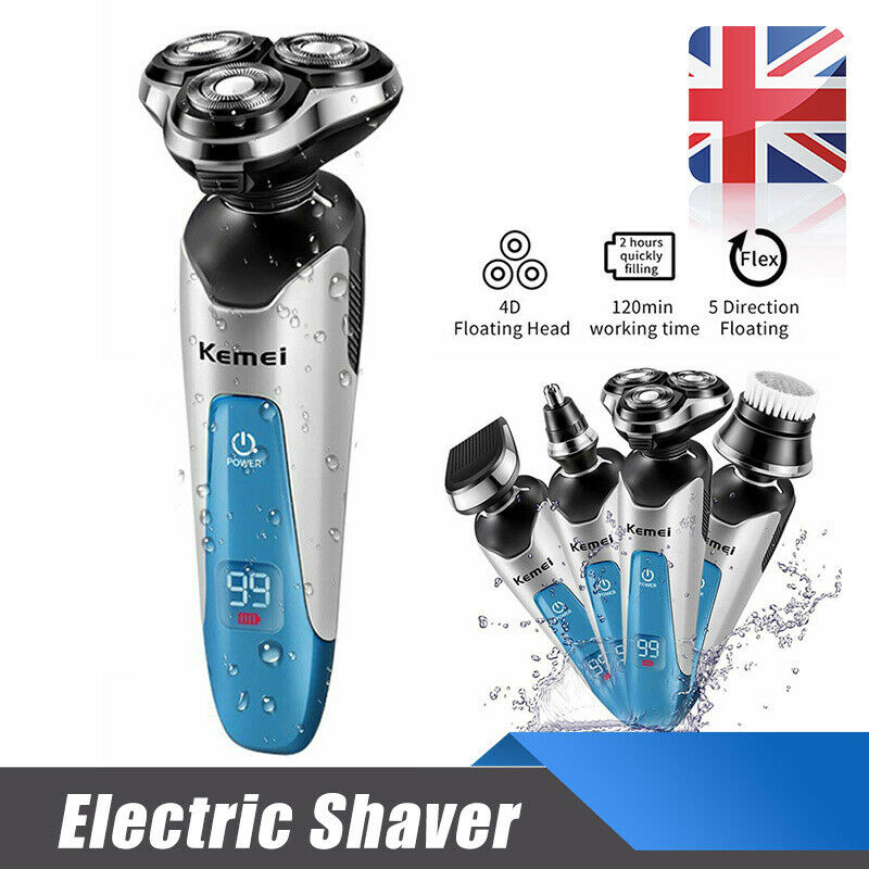 Mens Electric Shaver Razor Wet Dry 4D Rotary Shaver Rechargeable Philips Cordless USB Port Shaver