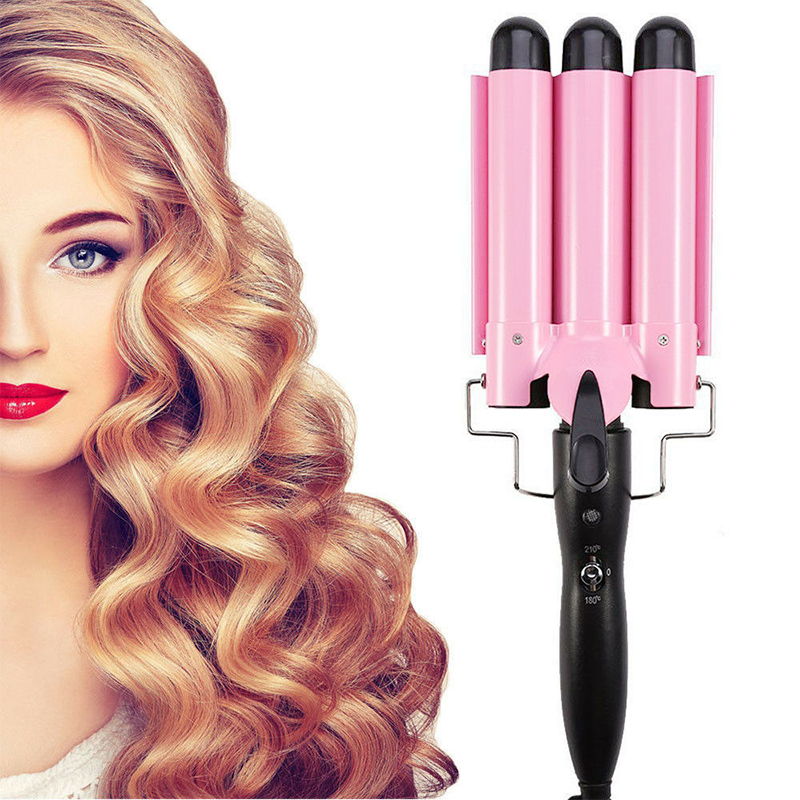 Triple Barrel Ceramic Hair Curler Curling Iron Salon Styler Crimper Wave Waver - 32mm