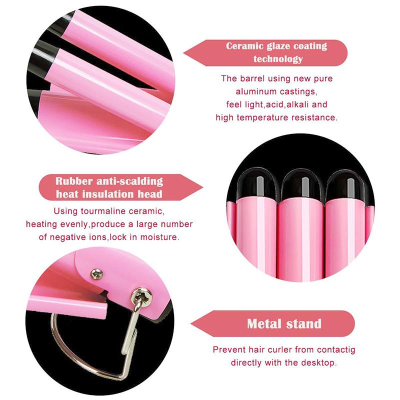 Triple Barrel Ceramic Hair Curler Curling Iron Salon Styler Crimper Wave Waver - 32mm