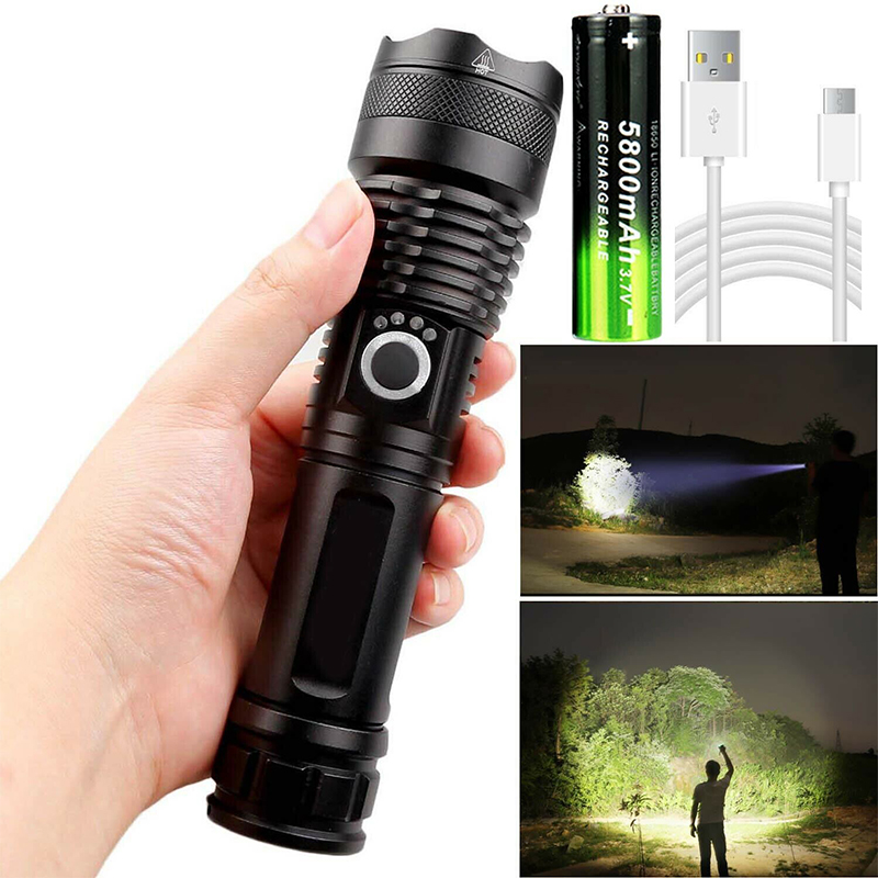 Waterproof Super Powerful Flashlight XHP50 LED Zoomable 5 Lighting Modes Headlamp