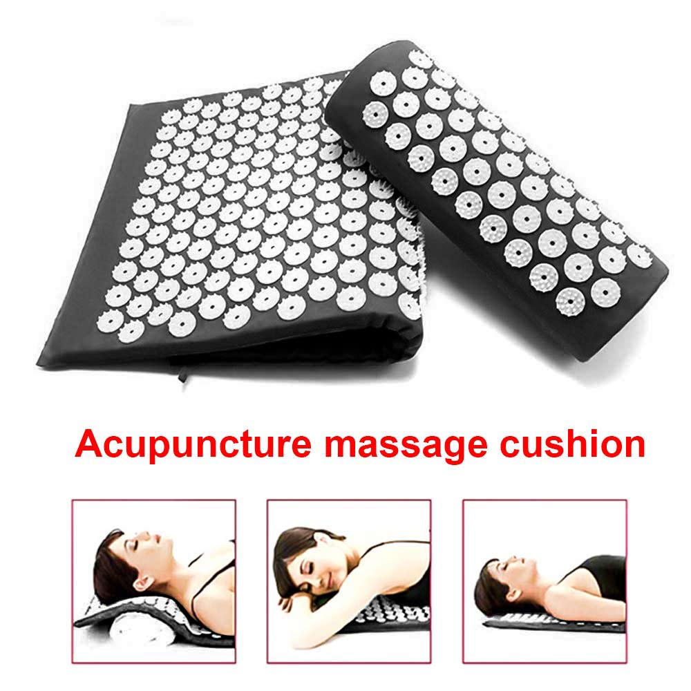 Yoga Cushion Acupressure Massage Mat Pain Relief Therapy Muscle Back Neck with Pillow Travel Bag
