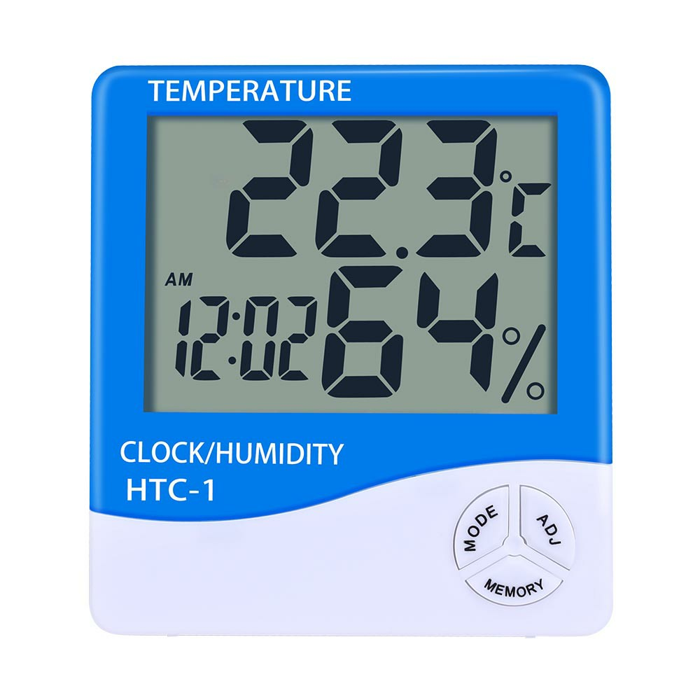Digital LCD Thermometer Hygrometer Humidity Meter Room Indoor Temperature Clock - Blue