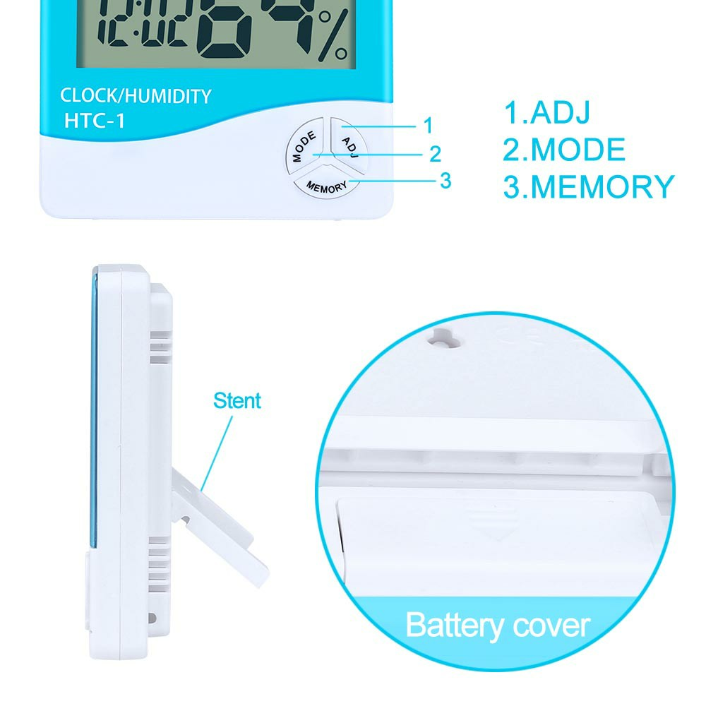 Digital LCD Thermometer Hygrometer Humidity Meter Room Indoor Temperature Clock - Green