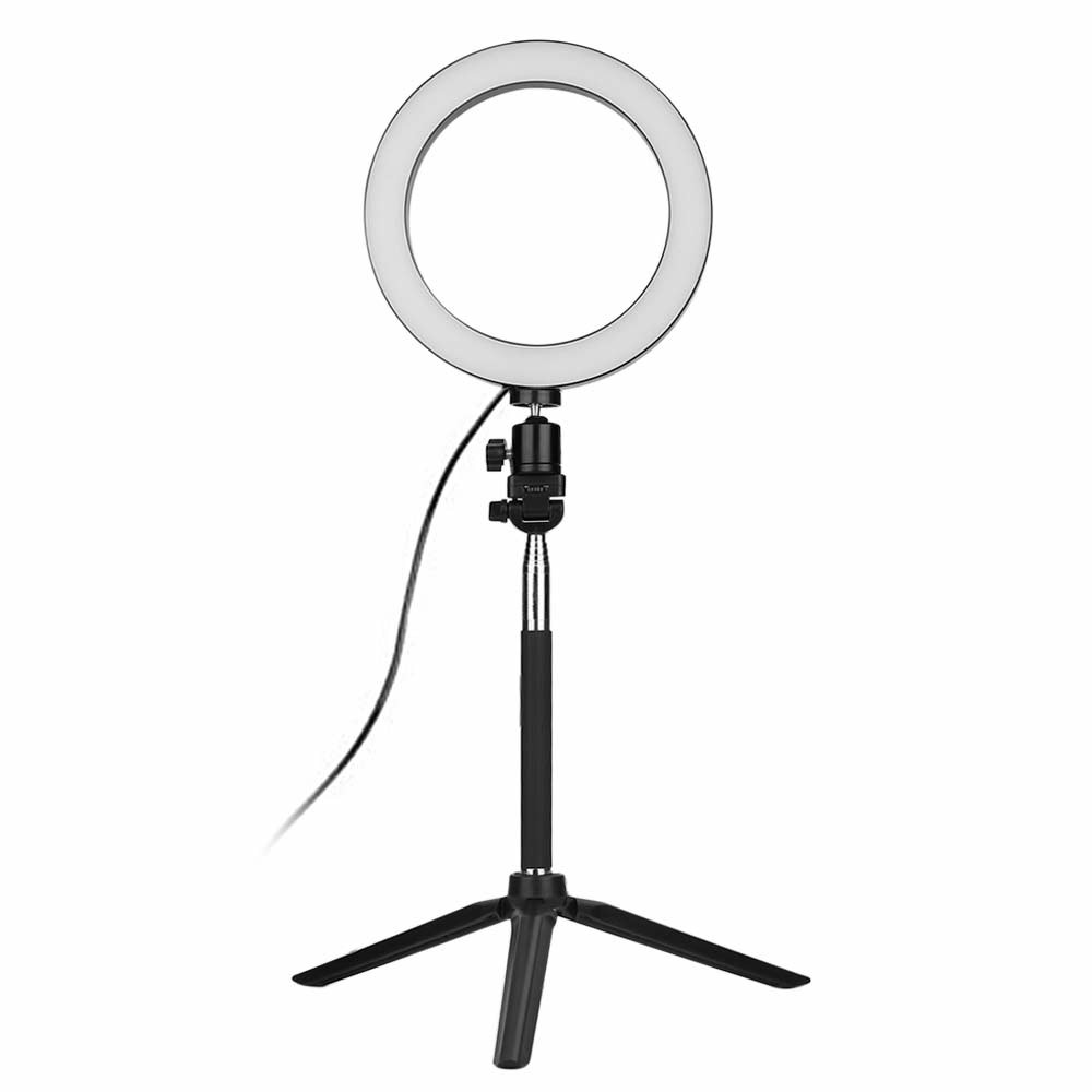 Dimmable LED Ring Light Photography Photo Studio Shooting Video Lamp + Tripod + Selfie Stick