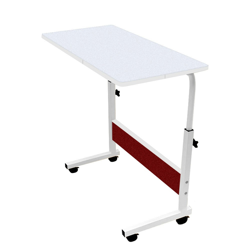 Movable Lifting Adjustable Bedside Computer Table Portable Laptop Synthetic Wood Table - White