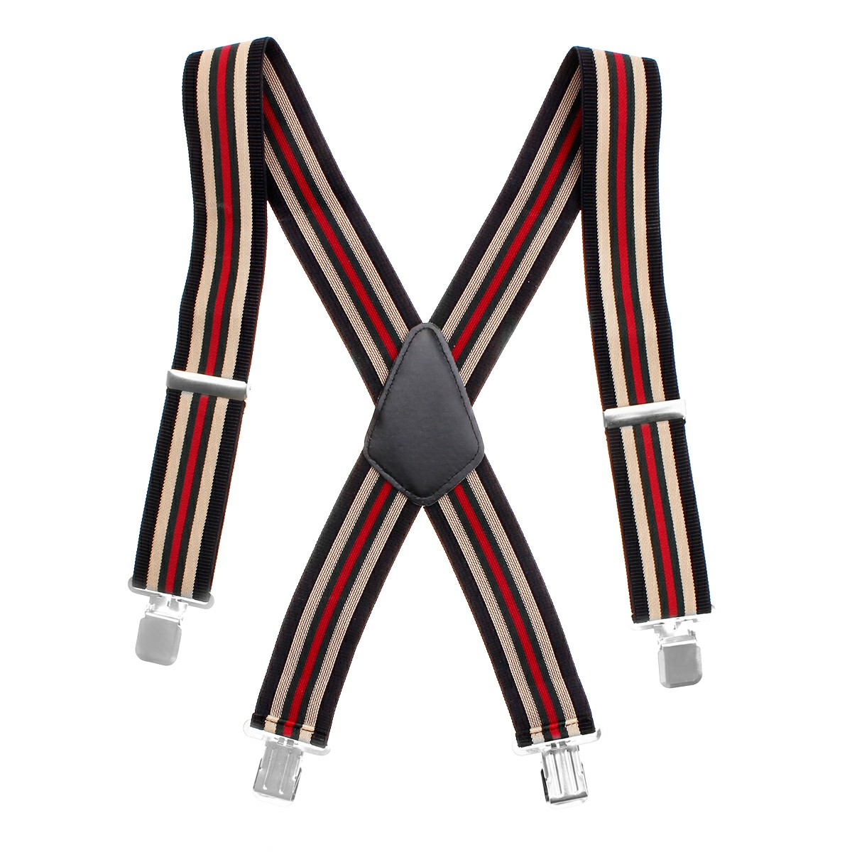 50MM Adjustable Stripe Plain Mens Braces Suspenders Heavy Duty Trouser Elastic