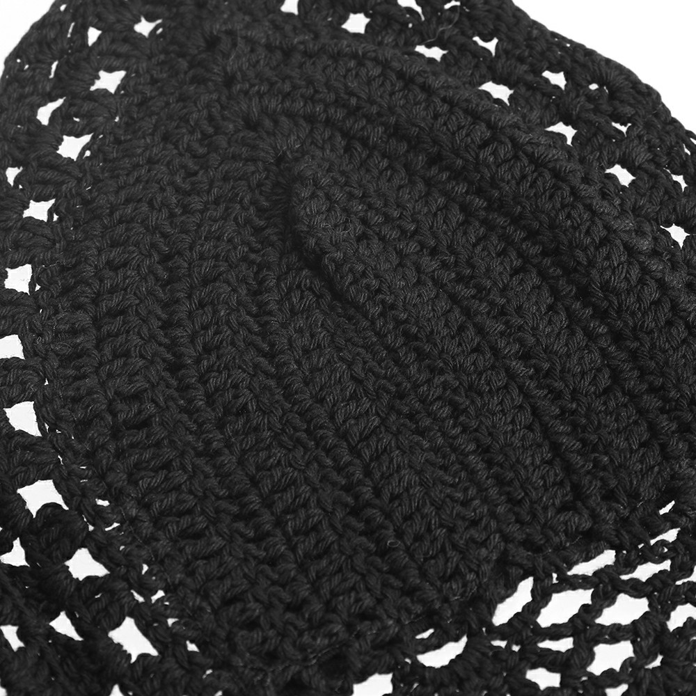 Womens Crochet Lace Bralette Knit Bra Boho Beach Bikini Halter Tank Crop Top - Black
