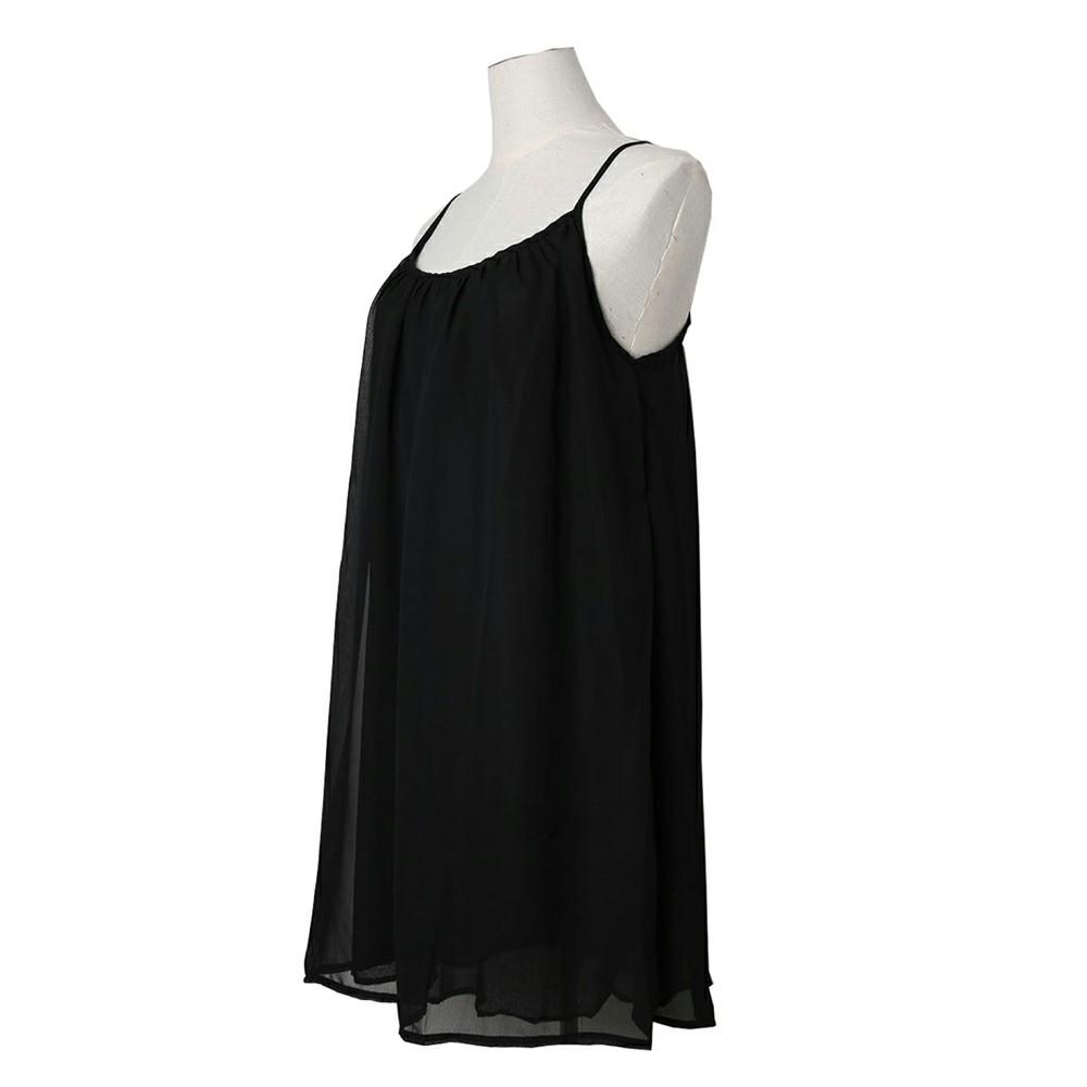 Women Holiday Chiffon Beach Wear Bikini Cover Up Black M