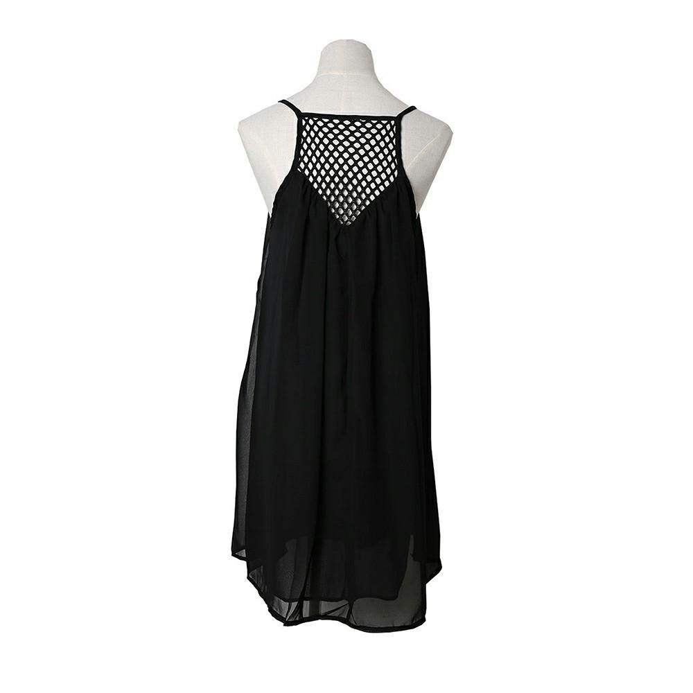 Women Holiday Chiffon Beach Wear Bikini Cover Up Black L