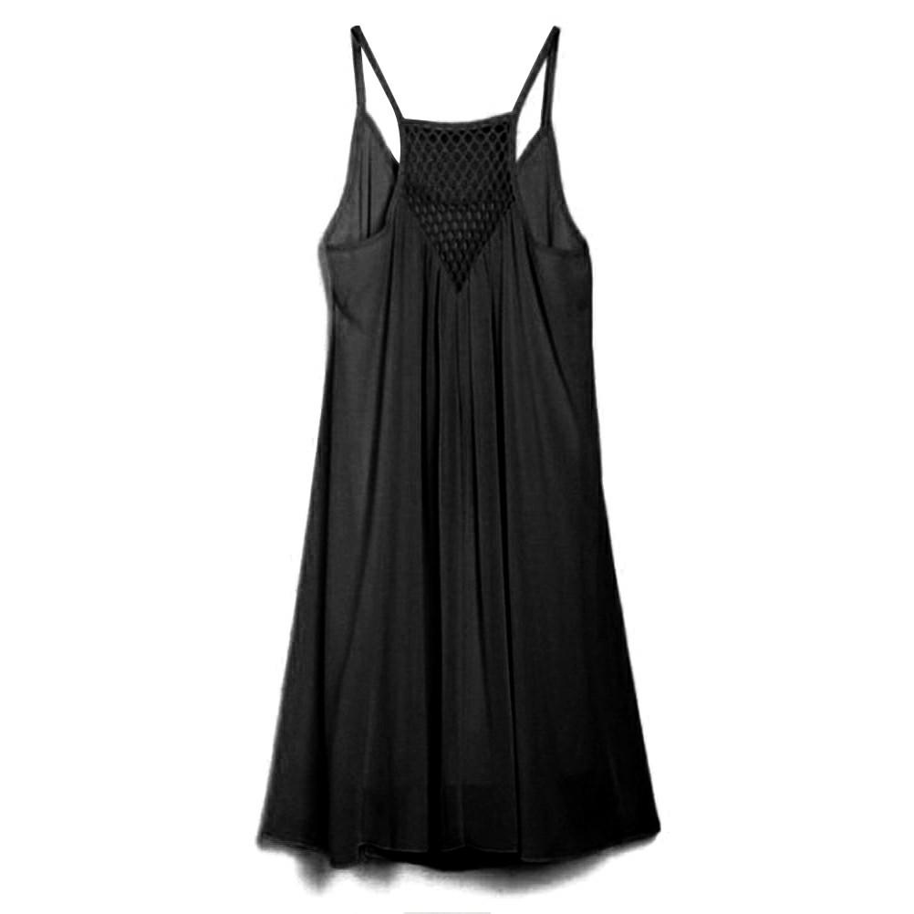 Women Holiday Chiffon Beach Wear Bikini Cover Up Black XL