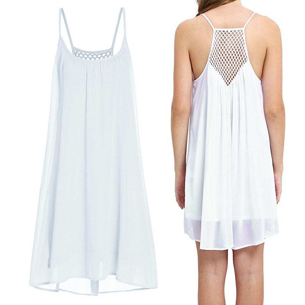 Women Holiday Chiffon Beach Wear Bikini Cover Up White S