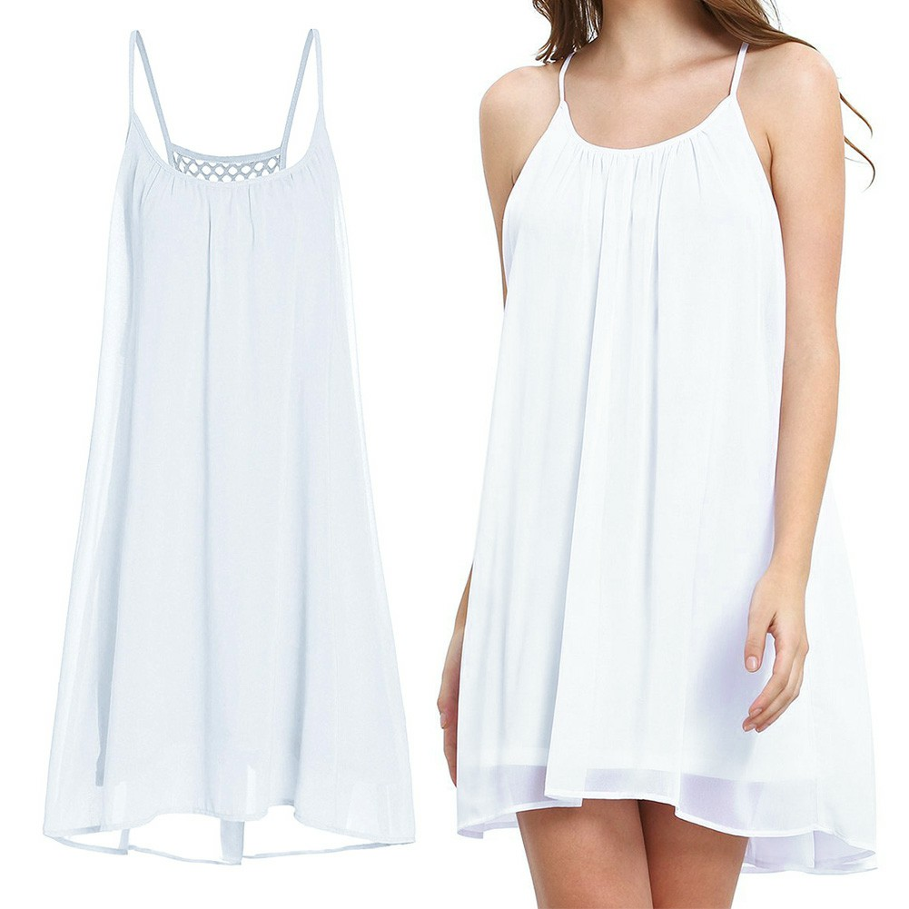 Women Holiday Chiffon Beach Wear Bikini Cover Up White M