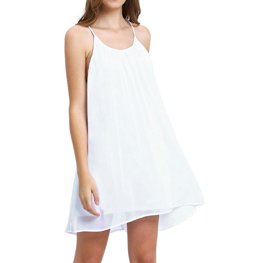 Women Holiday Chiffon Beach Wear Bikini Cover Up White L