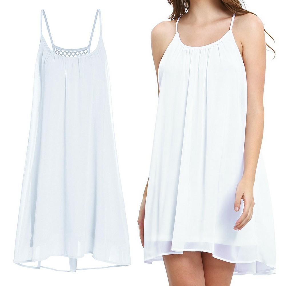 Women Holiday Chiffon Beach Wear Bikini Cover Up White XL
