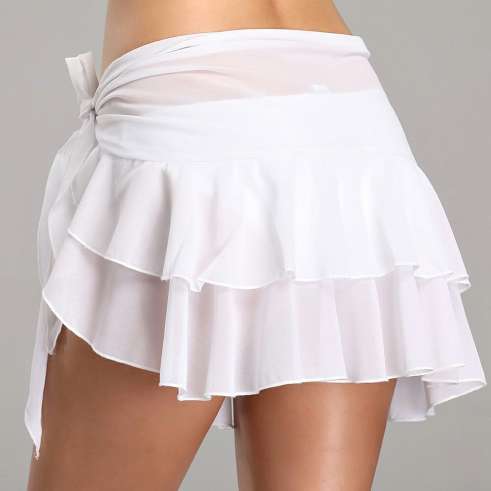 Bikini Cover Up Swimwear Sheer White