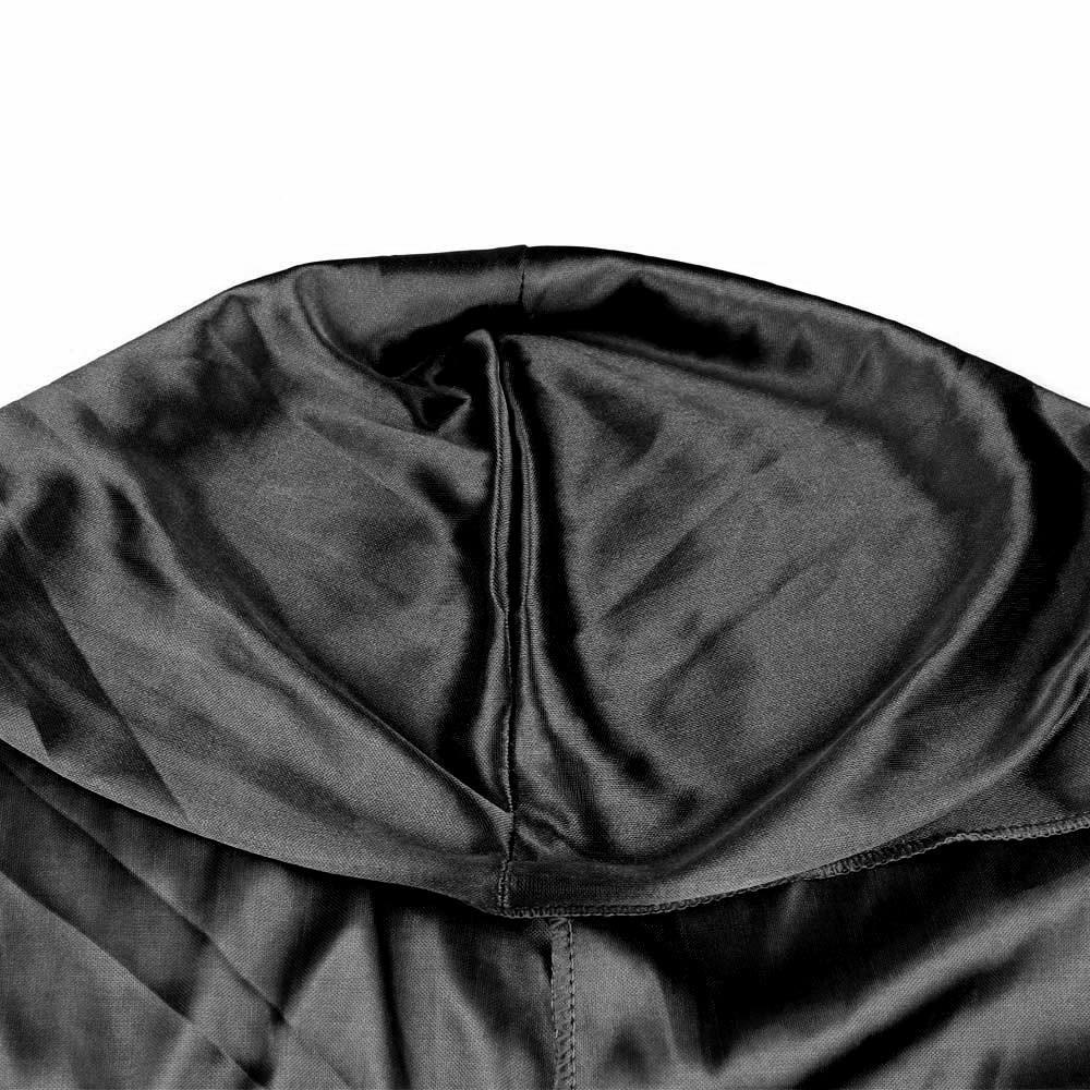 Fashion Unisex Men and Women Headscarf Headdress Bandana Durag Headwear Faux Soft Silk Pirate Cap Wrap - Black