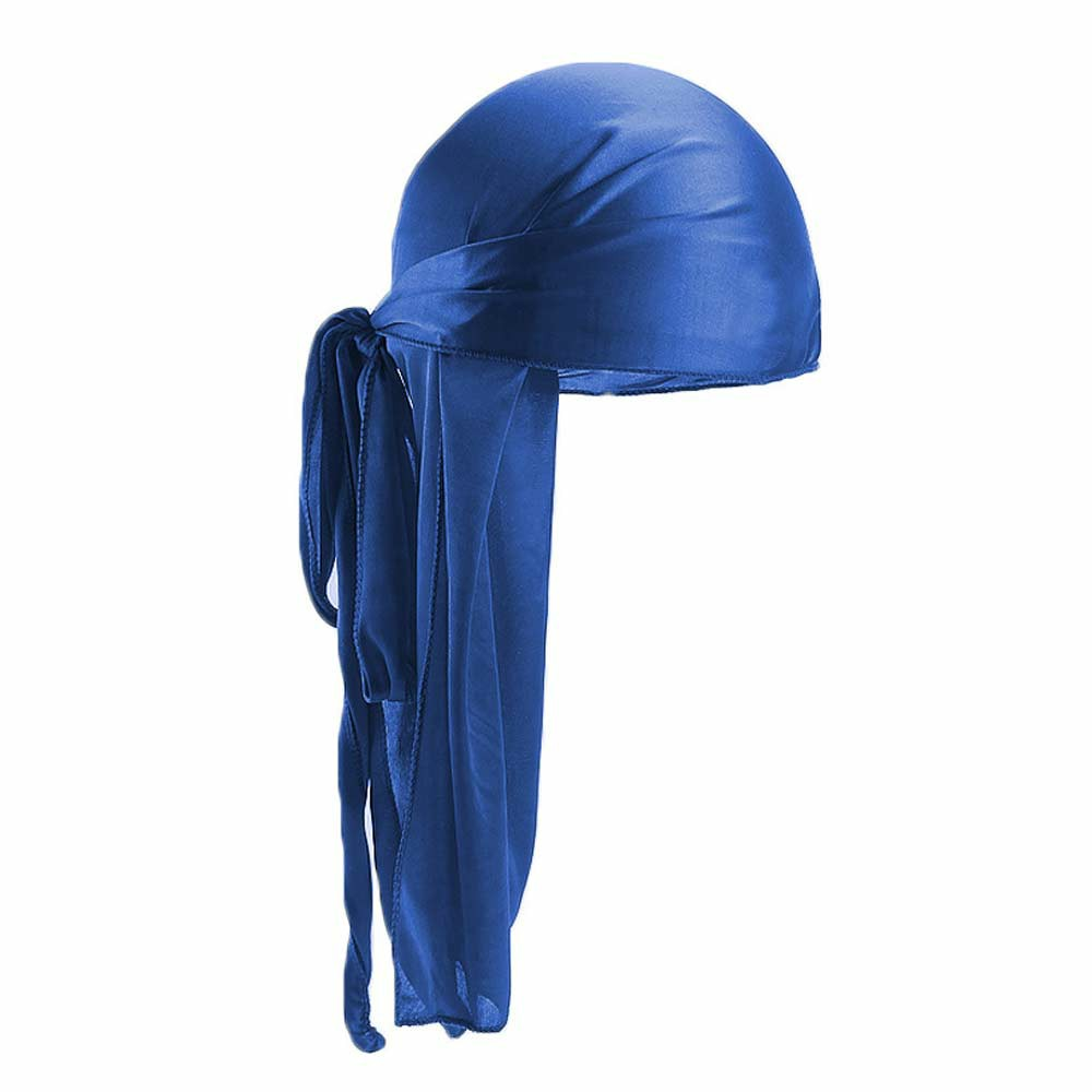 Fashion Unisex Men and Women Headscarf Headdress Bandana Durag Headwear Faux Soft Silk Pirate Cap Wrap - Blue